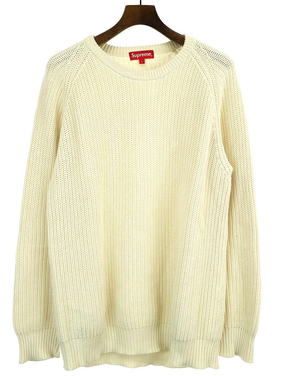 【中古】Supreme シュプリーム Rib Crewneck Sweater ワンポイントニットセーター アイボリー L メンズ