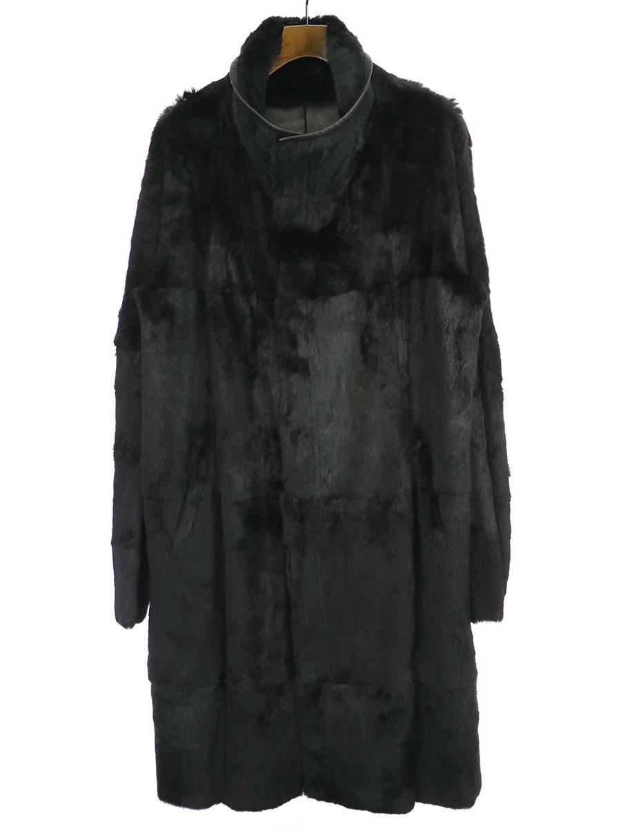 【中古】GIORGIO ARMANI ジョルジオアルマーニ ファージップアップレザーコート ブラック 52 メンズ