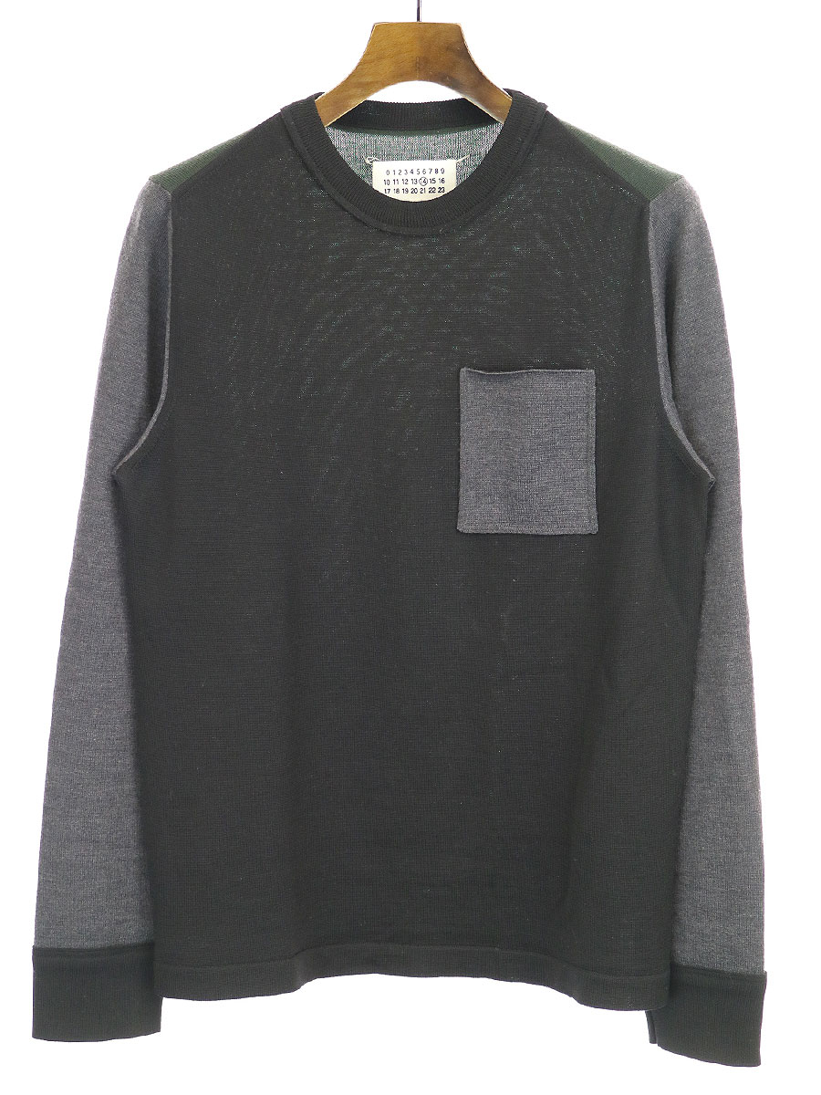 【中古】Maison Martin Margiela14 メゾンマルタンマルジェラ14 15AW マルチカラークルーネックニットセーター ブラック×マルチカラー M メンズ