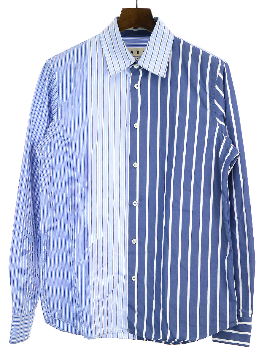 【中古】MARNI マルニ 18SS ストライプ切替ロングスリーブシャツ ブルー 48 メンズ