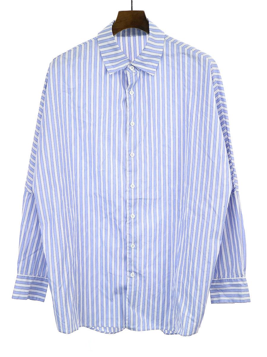 【中古】CASEY CASEY ケイシー ケイシー 19AW WAGA SHIRT オーバーサイズストライプシャツ サックスブルー S メンズ