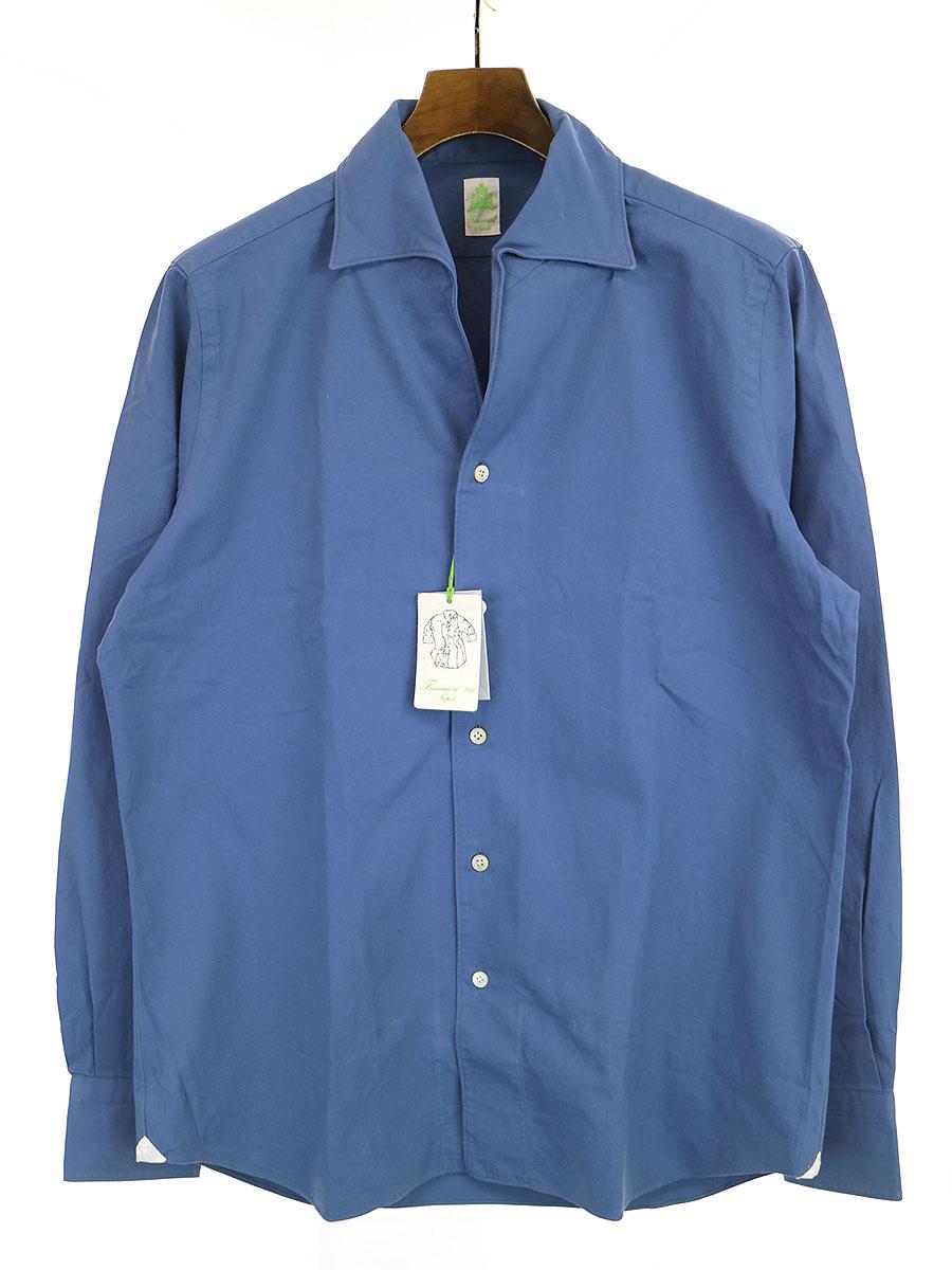 【中古】Finamore フィナモレ USTICA イタリアンカラーコットンドレスシャツ ブルー L メンズ