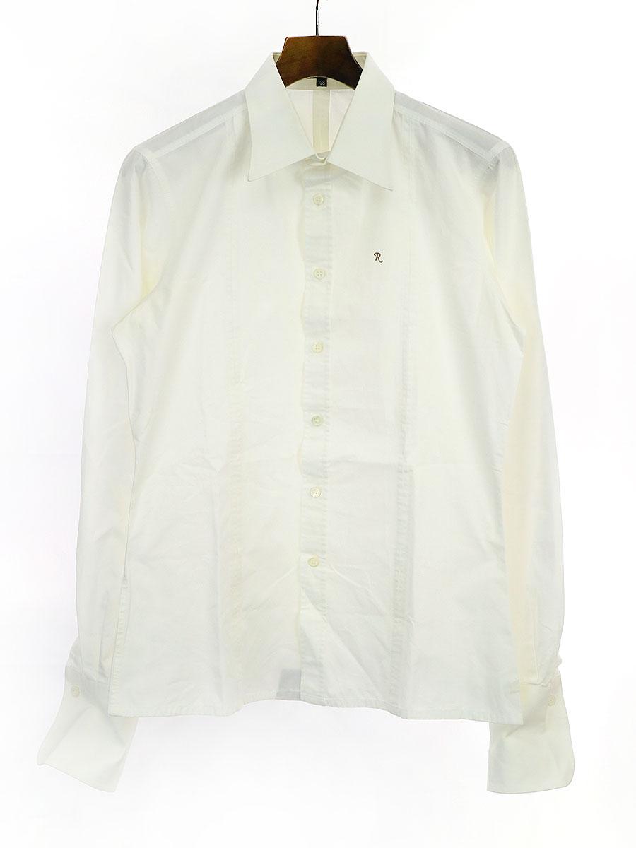 【中古】RAF SIMONS ラフシモンズ 01AW R刺繍 デザインロングスリーブシャツ ホワイト 48 メンズ