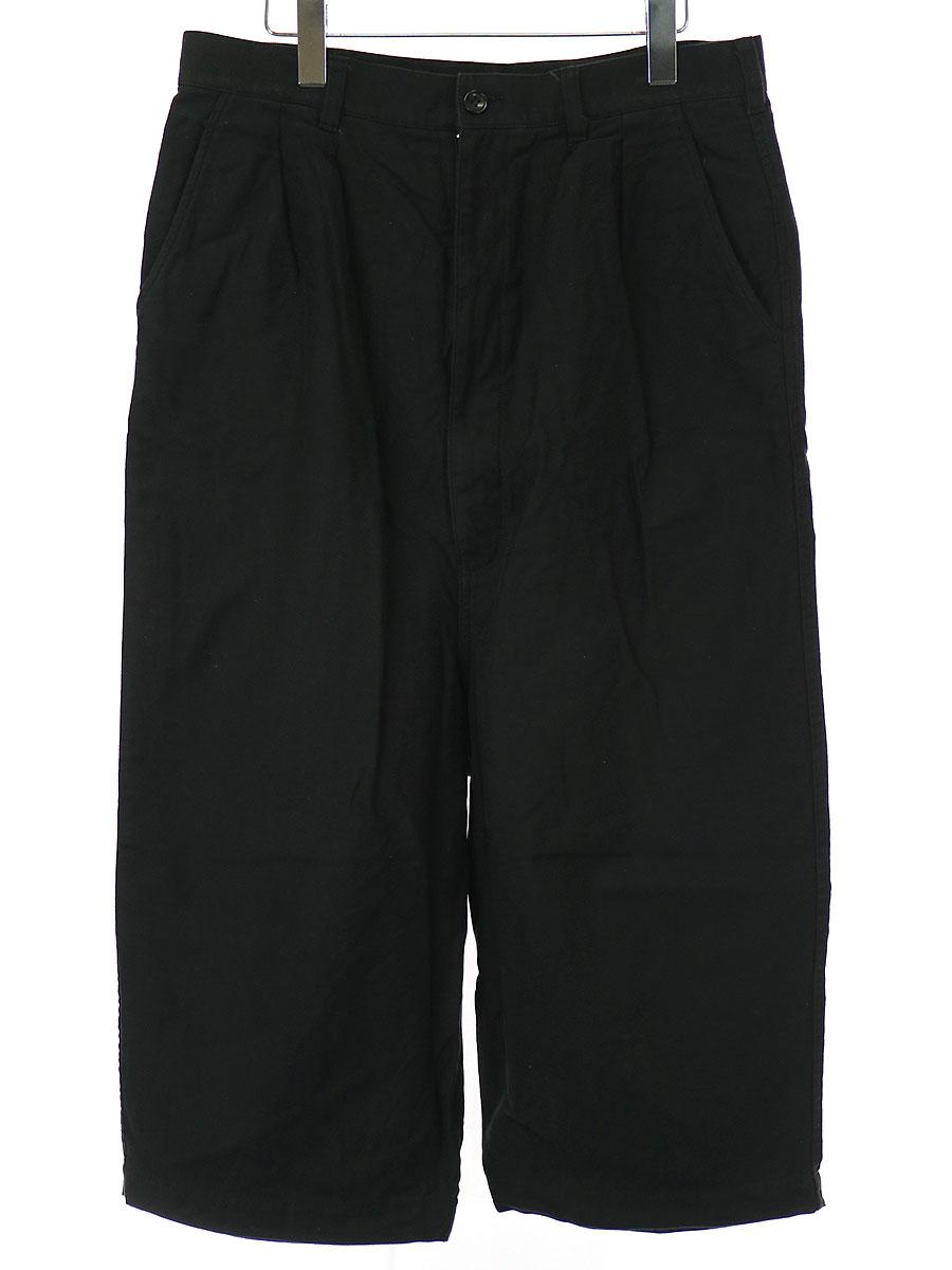 【中古】COMME des GARCONS HOMME コムデギャルソンオム 綿バックサテン 2タックパンツ ブラック M メンズ
