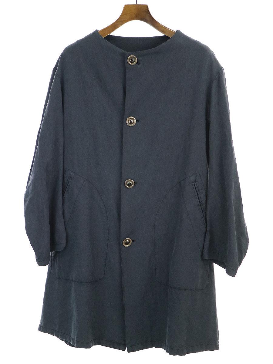 【中古】GEOFFREY B.SMALL ジェフリービースモール 19SS OYC03 special No collar half Coat ノーカラーハーフコート ネイビー S メンズ