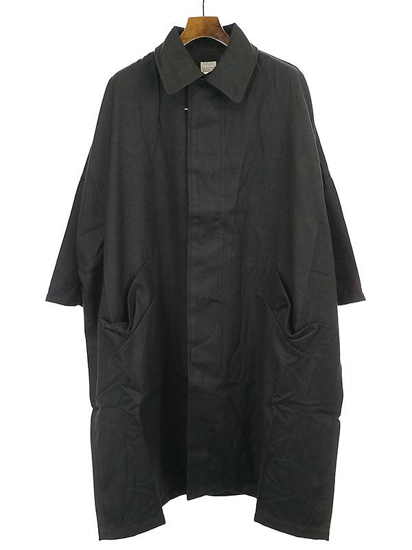 【中古】Deluxe Clothing デラックス クロージング 19AW INKFISH ギャバジンドロップショルダーステンカラーコート ブラック S メンズ