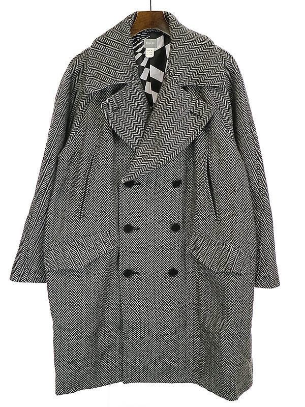 【中古】Deluxe Clothing デラックス クロージング 19AW CABA ヘリンボーンウールコクーンダブルPコート グレー L メンズ