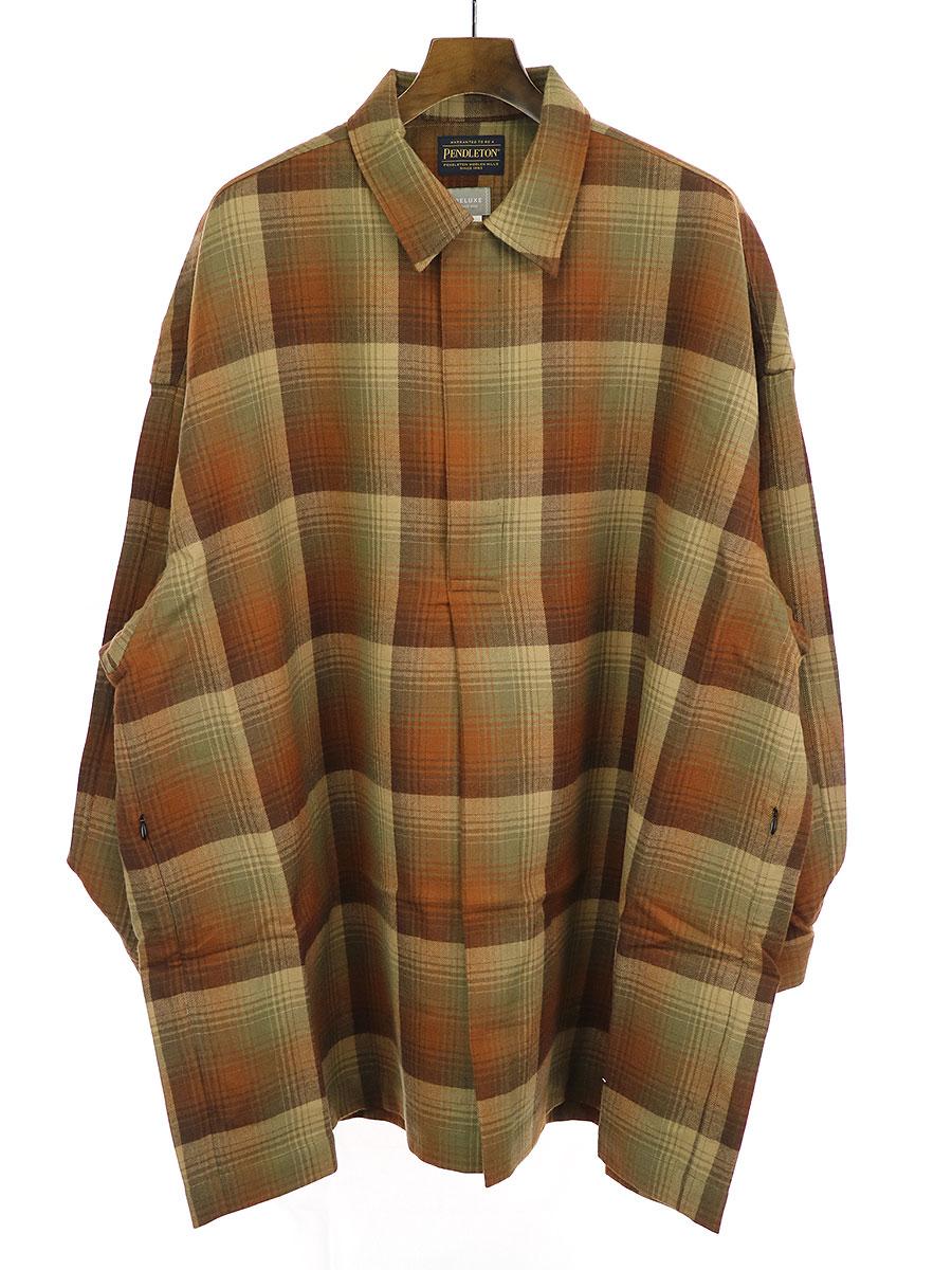 【中古】Deluxe Clothing × PENDLETON デラックス クロージング × ペンドルトン 19AW PONCHO チェック柄ウールプルオーバーポンチョ シャツ ブラウン S メンズ