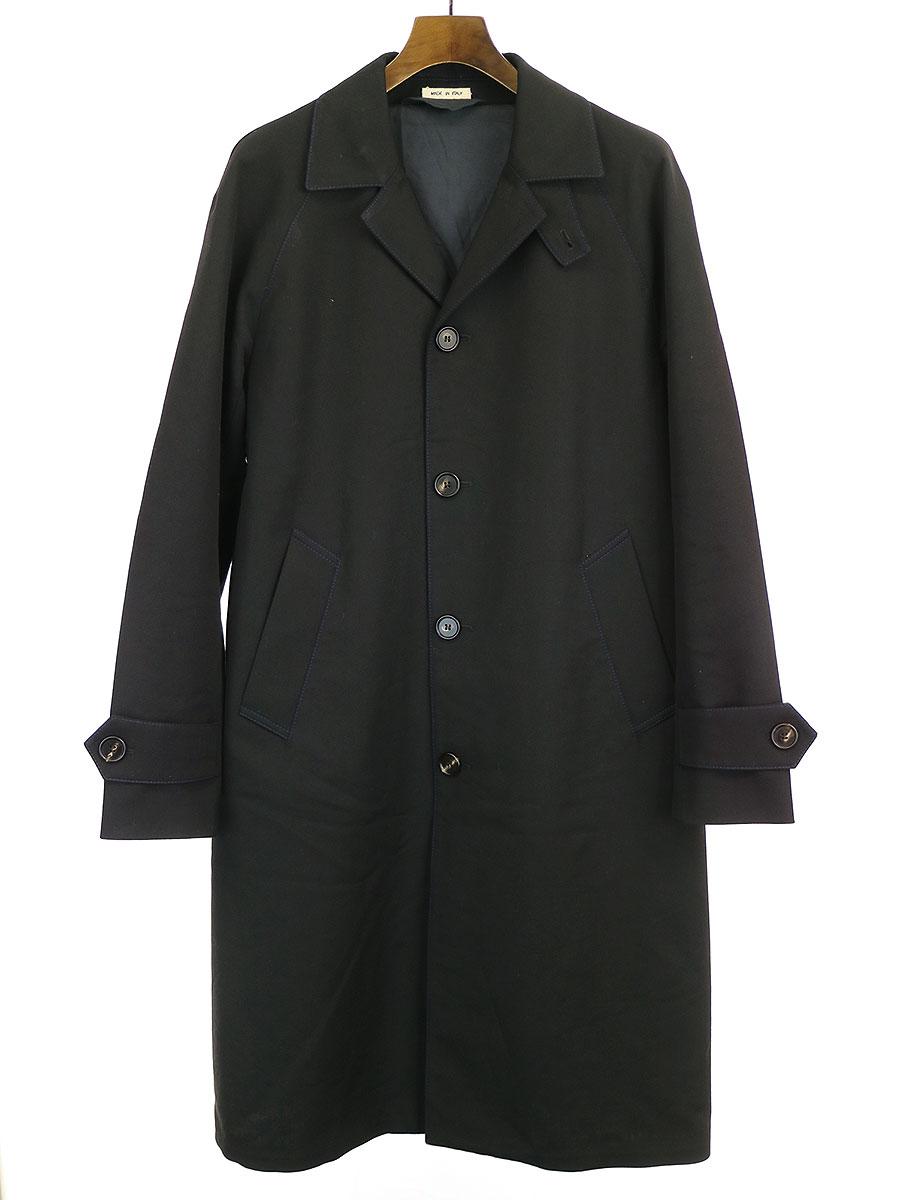 【中古】MARNI マルニ 19AW ウールキャバリーツイルカラーステッチシングルコート ブラック 44 メンズ