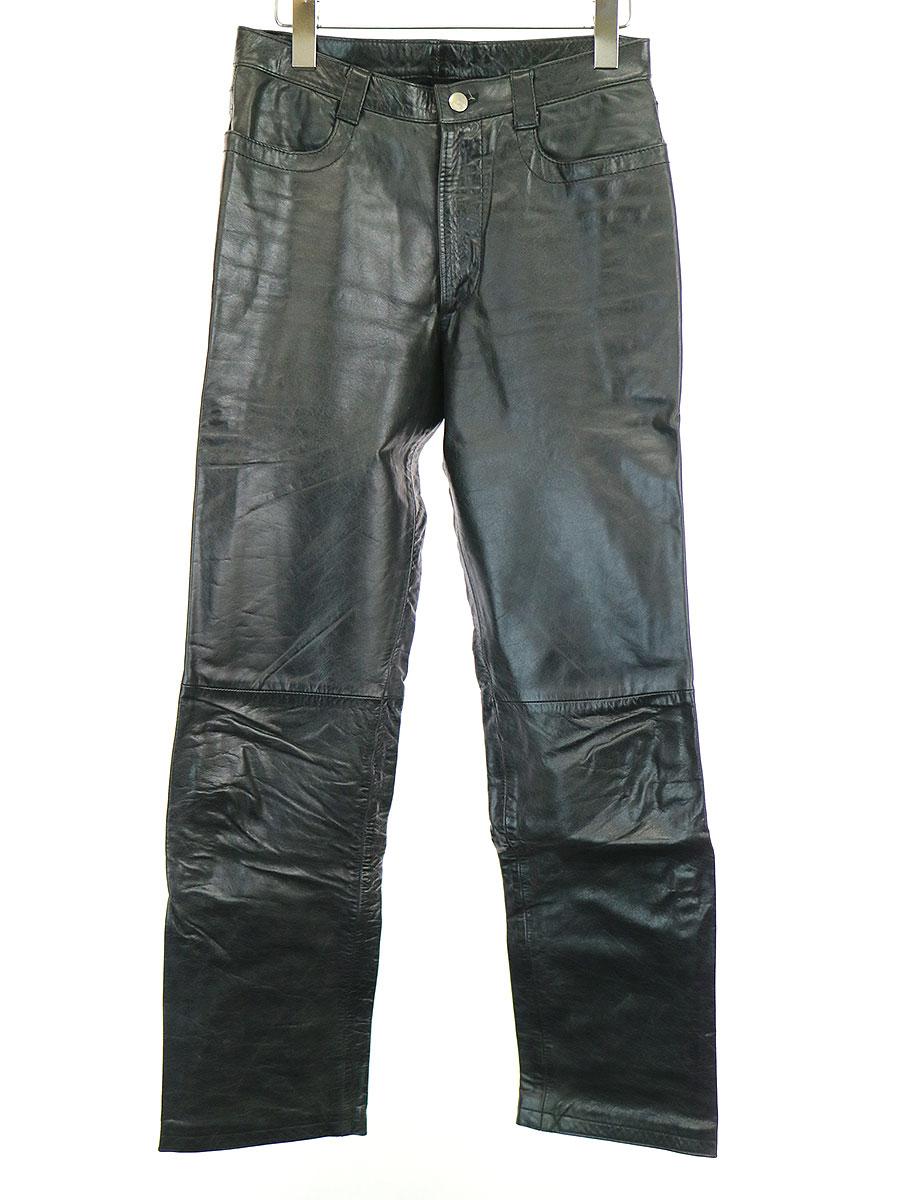 【中古】DIRK BIKKEMBERGS ダーク ビッケンバーグ 98AW カウレザーストレートパンツ ブラック 44 メンズ