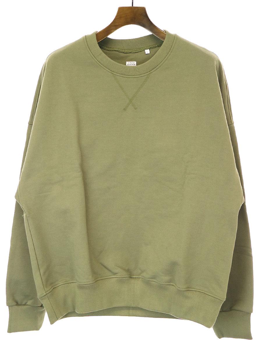 【中古】E.Tautz イートウツ 20SS plain military sweatshirt ミリタリークルーネックスウェットトレーナー カーキ S メンズ