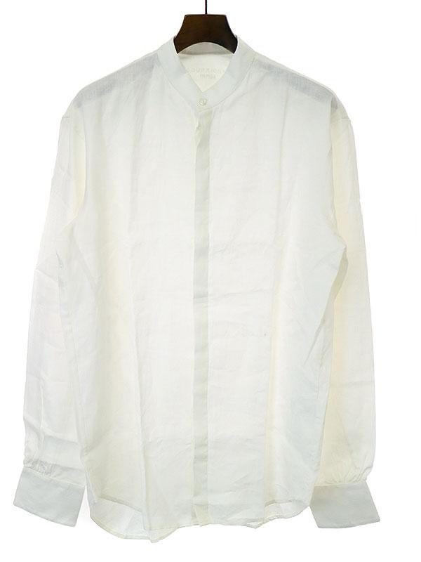 【中古】BOURRIENNE PARIS ブリエンヌパリ スタンドカラーリネンシャツ ホワイト L メンズ