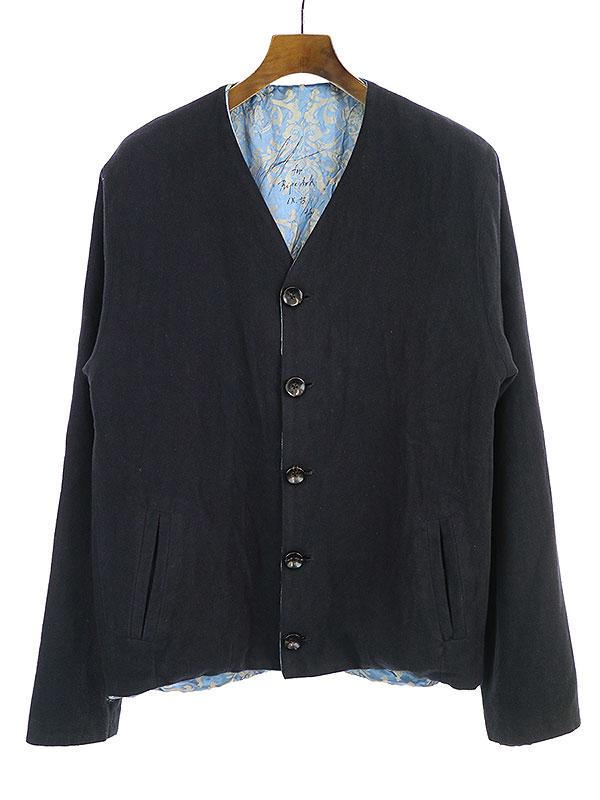【中古】GEOFFREY B.SMALL ジェフリービースモール GRJ14 relaxed blouson jacket 裏地ジャガード織りノーカラージャケット ネイビー S メンズ