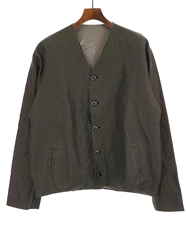 【中古】GEOFFREY B.SMALL ジェフリービースモール OYJ09-SPECIAL handmade fully lined v-neck 5-button welt-pocket cardigan jacket カーディガンジャケット オリーブ M メンズ