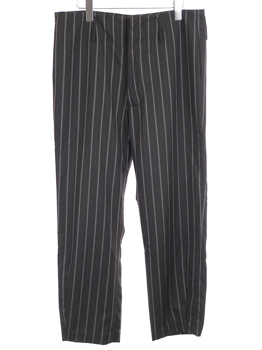【中古】GEOFFREY B.SMALL ジェフリービースモール SEP02 Handmade 8/10 Length Relaxed Pleated Dart Bottom Leg Suspender Trouser サスペンダーストライプパンツ ブラック 46 メンズ