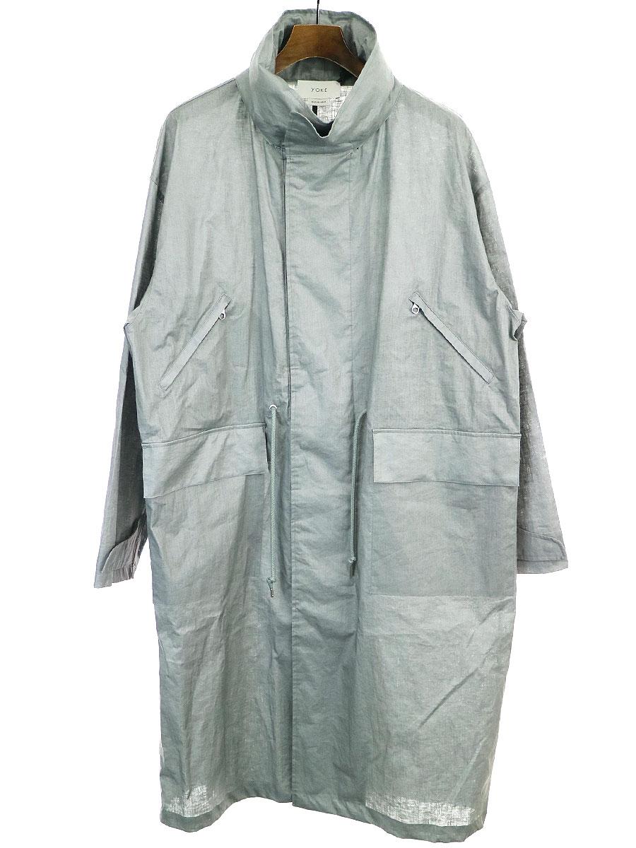 【中古】YOKE ヨーク 20SS STAND COLLAR OVER COAT スタンドカラーオーバーコート グレー M メンズ