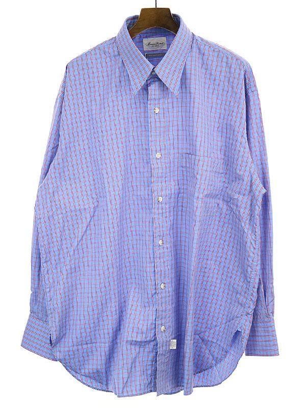 【中古】Marvine Pontiak マービンポンティアック 19SS Tab Collar チェック柄オーバーサイズシャツ ブルー F メンズ