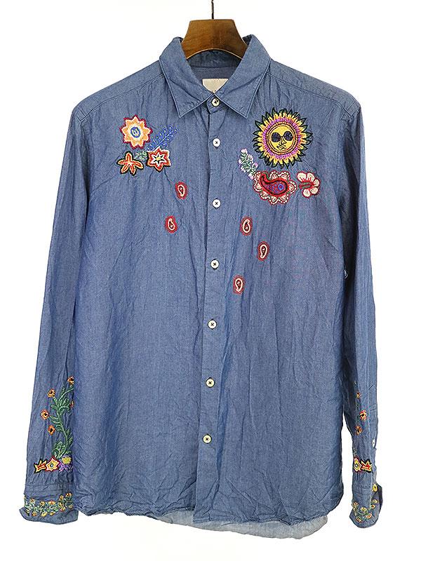【中古】Paul Smith ポールスミス 18SS Psychedelic Sun MULTI MOTIF EMBROIDERY SHIRT 刺繍シャツ インディゴ L メンズ