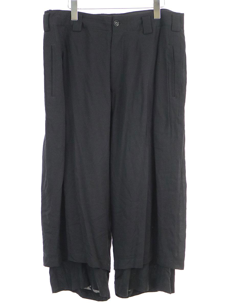 【中古】Yohji Yamamoto POUR HOMME ヨウジヤマモトプールオム 18SS LOOK31 レーヨンスパンローンクロップド丈パンツ ブラック 3 メンズ