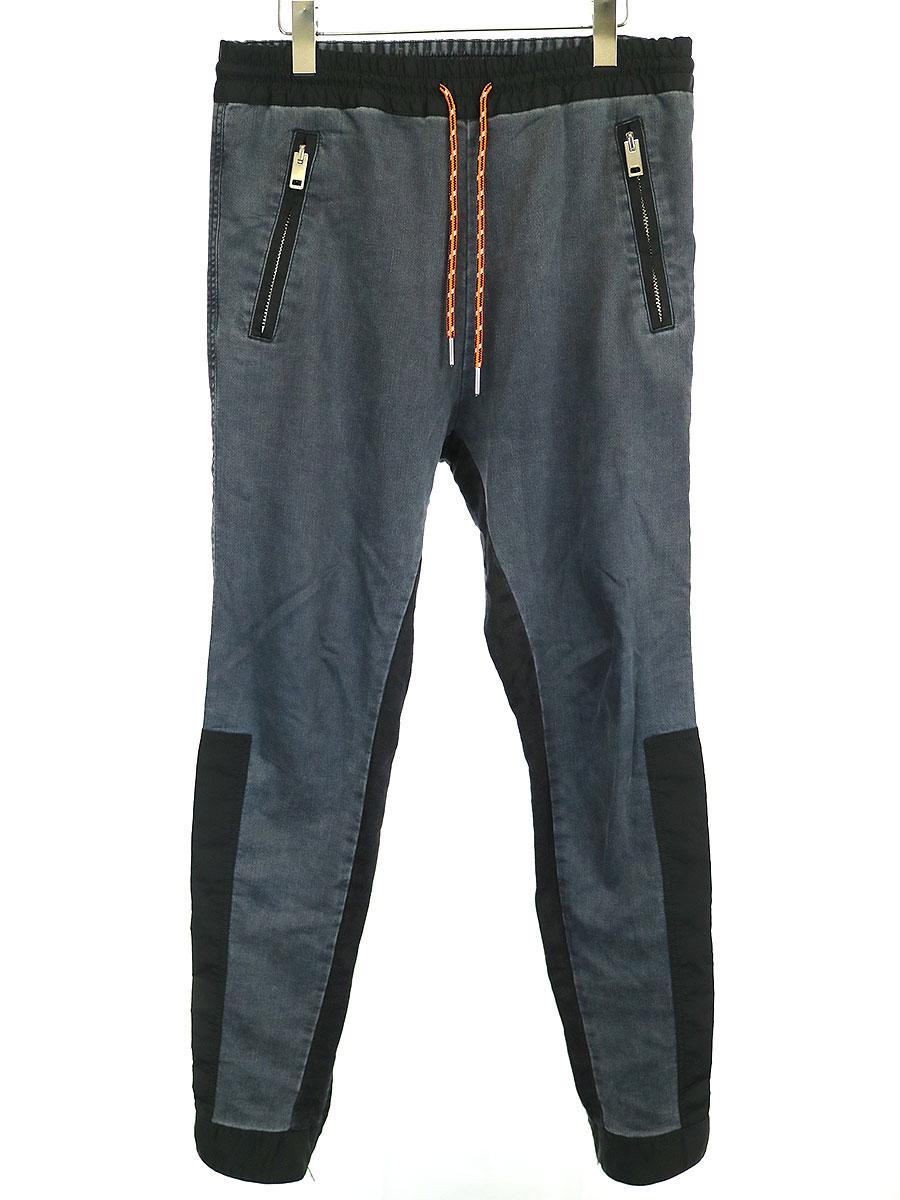 【中古】DIESEL ディーゼル 裾ジップ素材切替スウェットパンツ チャコールグレー 28 メンズ