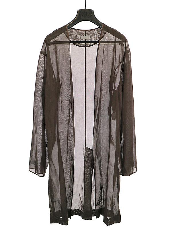 【中古】Dior HOMME ディオールオム 10SS LOOK12 シースルーガウンコート ブラウン 44 メンズ
