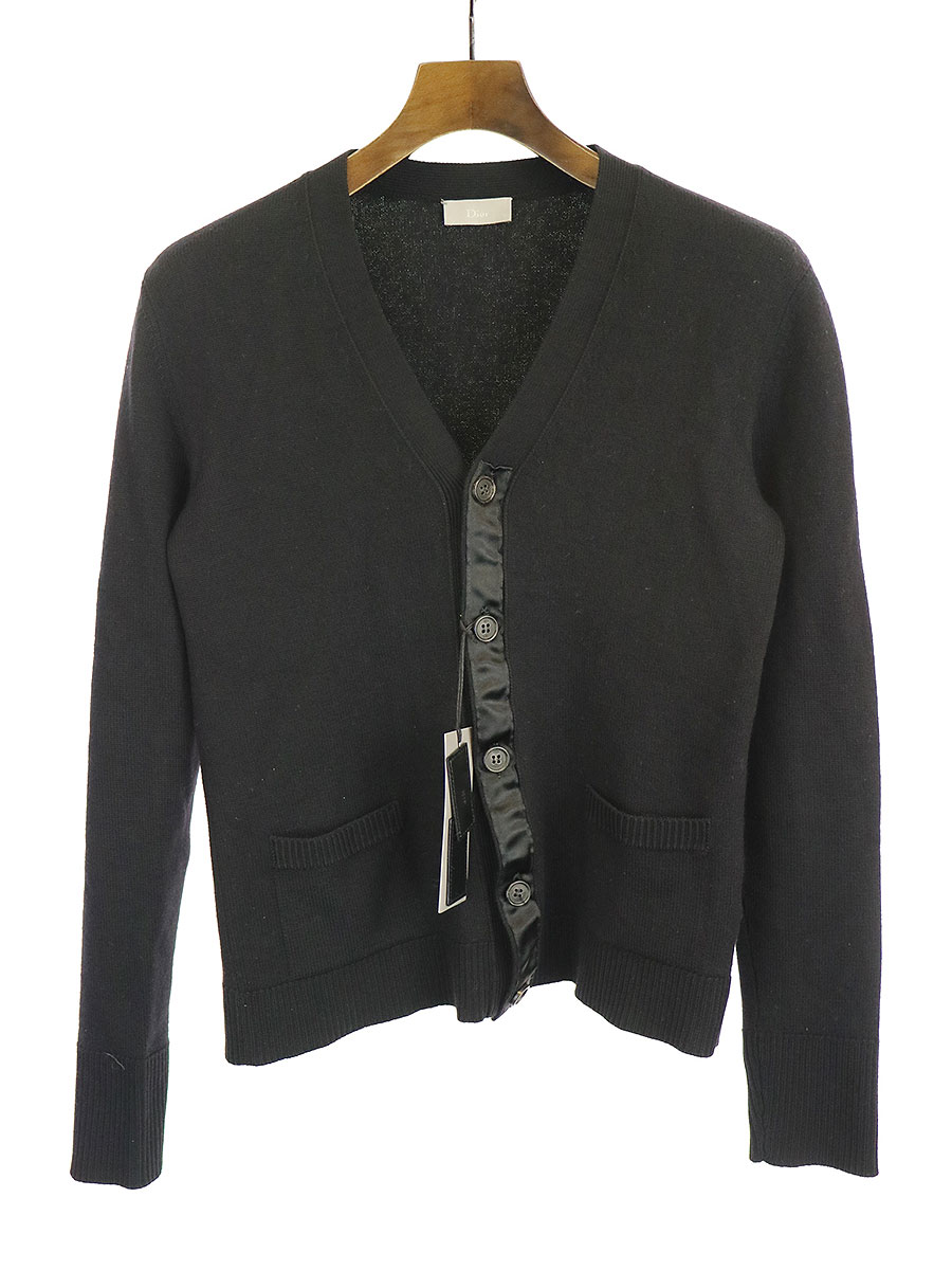 【中古】Dior HOMME ディオールオム 06AW ウールテーピングニットカーディガン ブラック XS メンズ