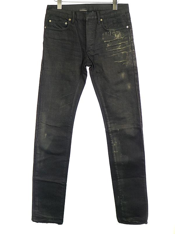 【中古】Dior HOMME ディオールオム 07SS 路面店限定グラファイトコーティング加工デニムパンツ ブラック 29 メンズ