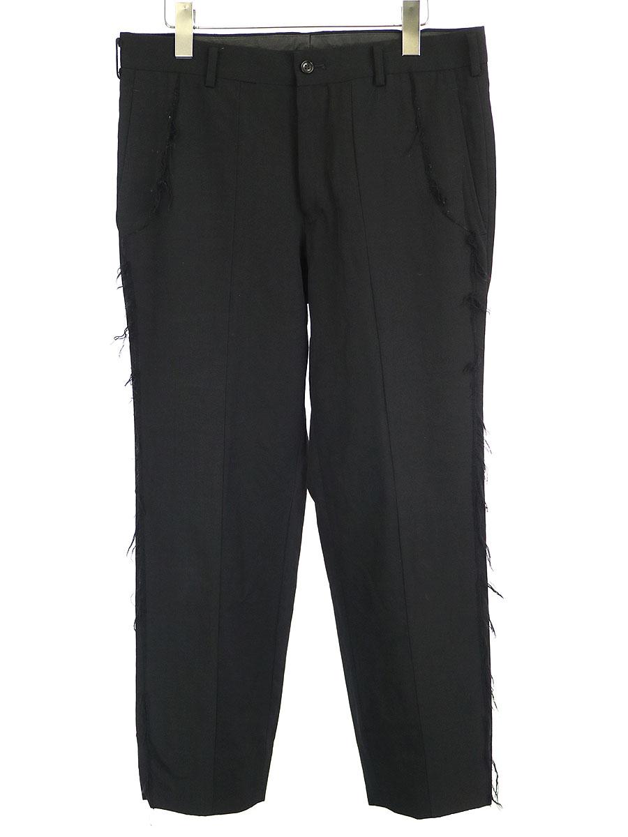 【中古】COMME des GARCONS HOMME コムデギャルソンオム 2000AW インサイドアウトデザインスラックスパンツ ブラック L メンズ
