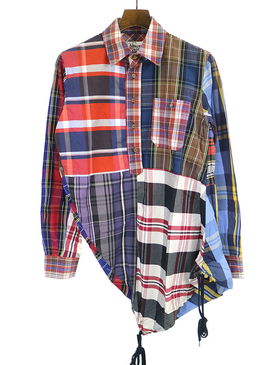 【中古】VivienneWestwood MAN ヴィヴィアンウエストウッド マン 11AW マルチチェックパッチワークプルオーバーアシンメトリーシャツ マルチカラー 44 メンズ