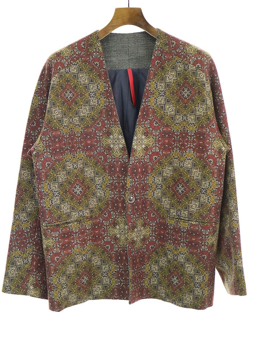 【中古】YANTOR ヤントル 16AW Arabesque Norcollar Jacket アラベスク柄ノーカラージャケット ミックス M メンズ