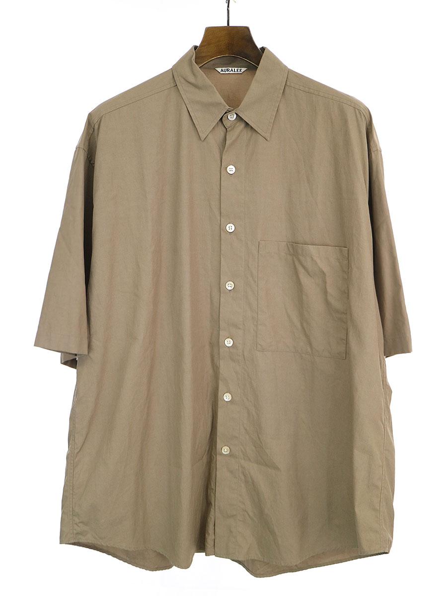 【中古】AURALEE オーラリー 19SS WASHED FINX TWILL HALF SLEEVED BIG SHIRTS フィンクスツイルハーフスリーブビッグシャツ ブラウン 5 メンズ