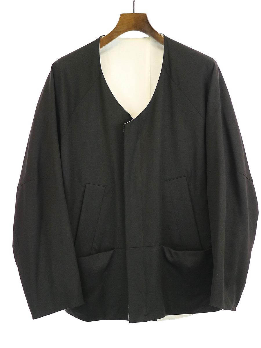 【中古】my beautiful landlet マイ ビューティフル ランドレット ツイルウールノーカラー2WAYジャケット ブラック、ホワイト 0 メンズ