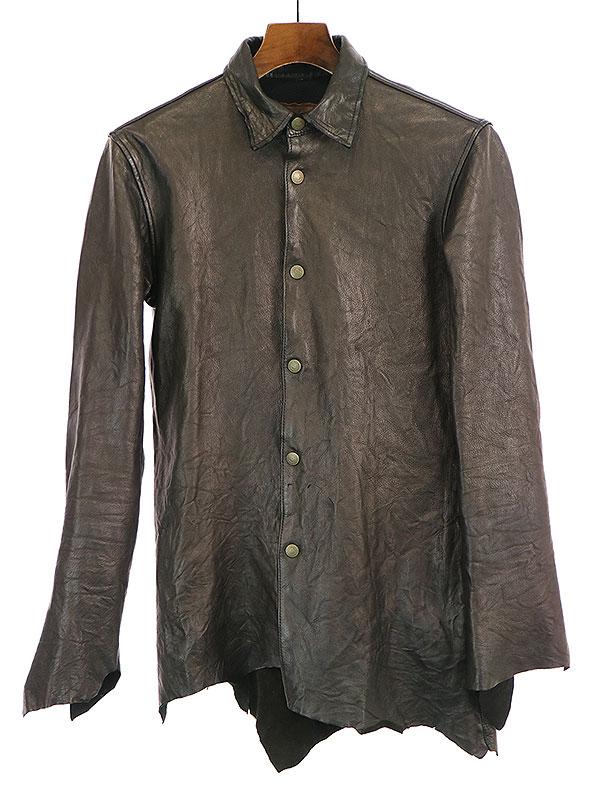 【中古】BACKBONE バックボーン THE AUTHENTIC 10SS ディアスキンカットオフレザーシャツ ブラック M メンズ