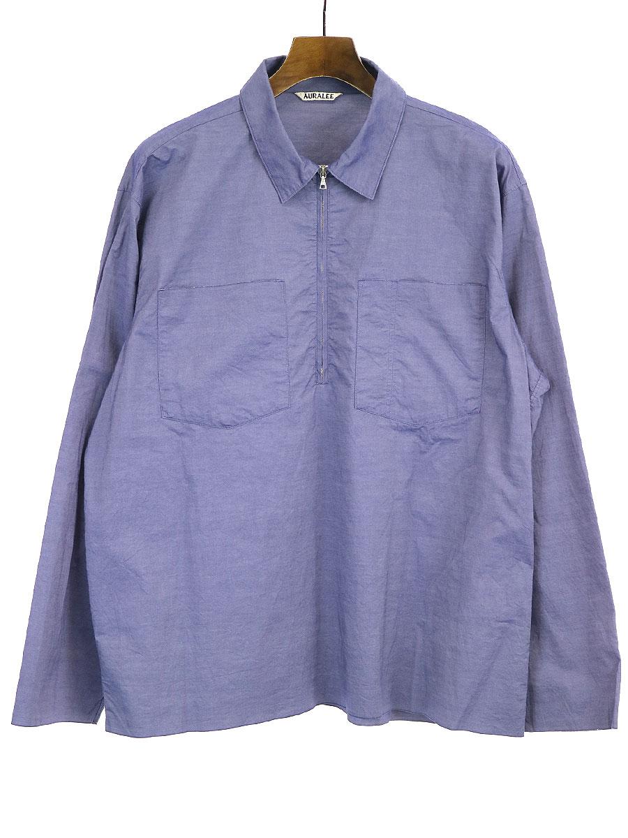 【中古】AURALEE オーラリー 16AW FINX SELVEDGE WEATHER CLOTH ZIP SHIRT プルオーバーシャツ ブルー 5 メンズ