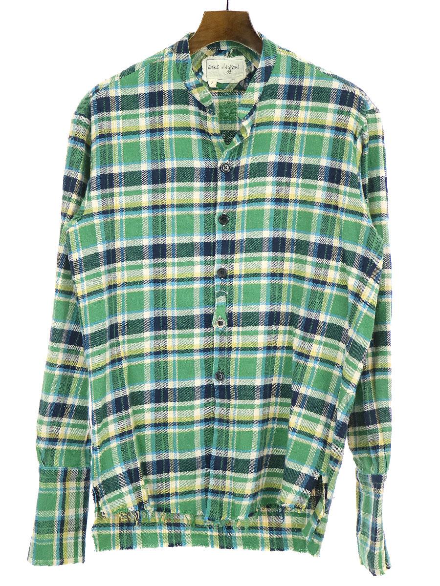 【中古】GREG LAUREN グレッグ ローレン 20SS CLASSIC STUDIO SHIRT チェック柄クラシックスタジオシャツ グリーン 1 メンズ