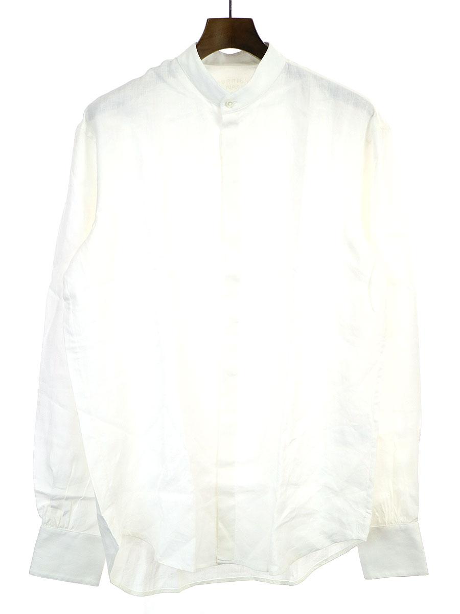 【中古】BOURRIENNE PARIS ブリエンヌパリ バンドカラーリネンシャツ ホワイト M メンズ