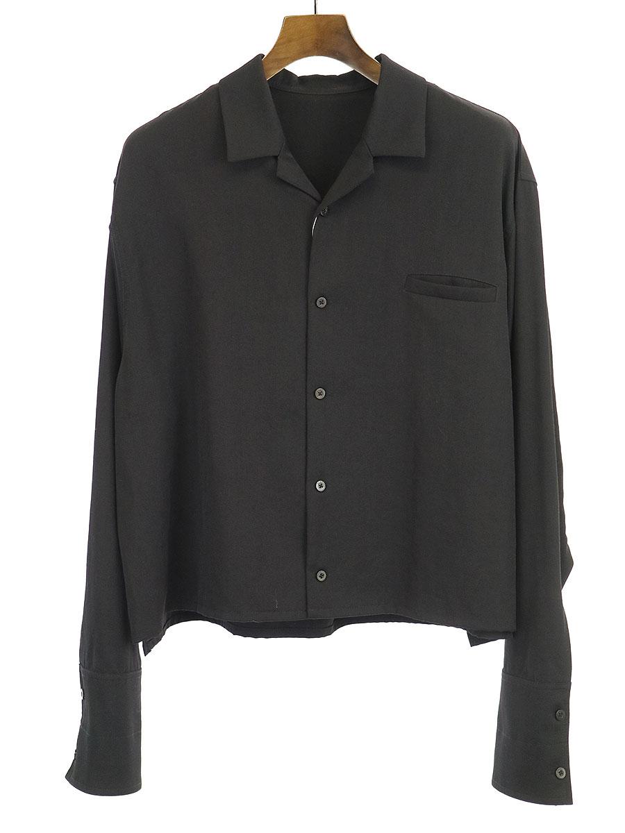 【中古】BISHOOL ビシュール ウールギャバジンダブルカフスシャツ ブラック F メンズ