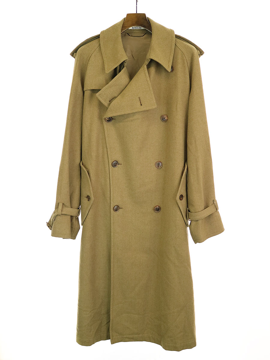 【中古】AURALEE オーラリー 18AW WOOL CASHMERE FLANNEL BIG TRENCH COAT ウールカシミアビッグトレンチコート キャメル 4 メンズ