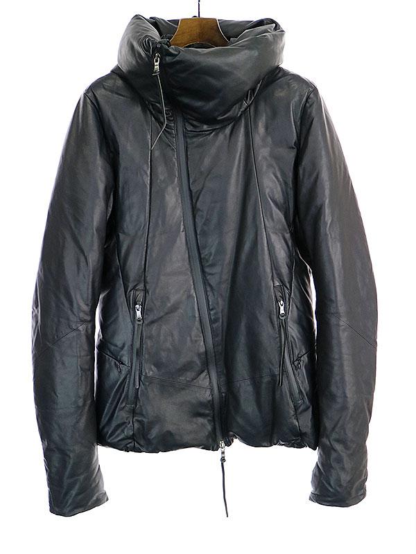【中古】The viridi-anne ザ ヴィリディアン 16AW エチオピアラムラムレザーグースダウンジャケット ブラック 3 メンズ