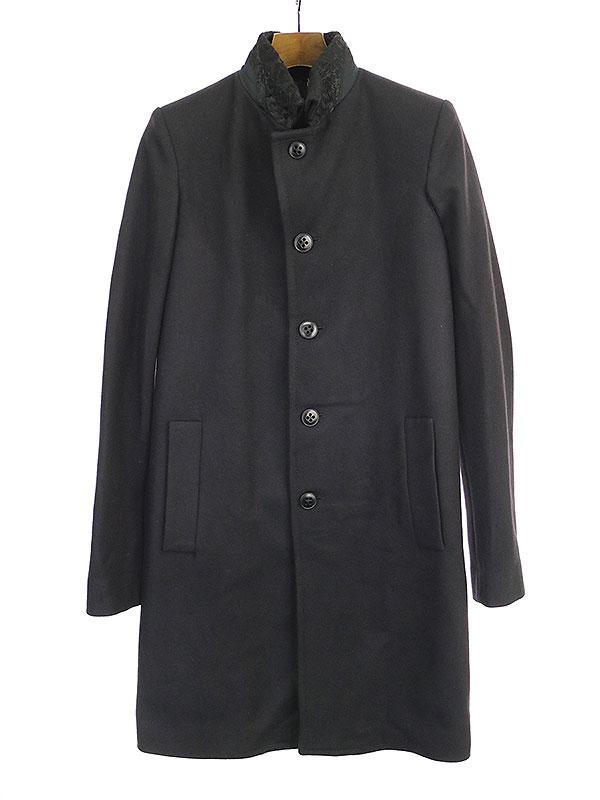【中古】ANN DEMEULEMEESTER アンドゥムルメステール 17AW マオカラーデザインベルト付きウールロングコート ブラック XXS メンズ