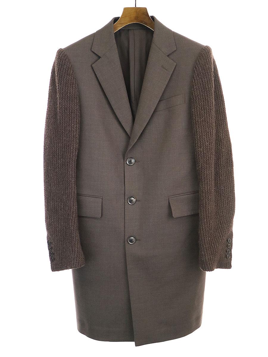 【中古】SCYE サイ 袖切替ウールテーラードコート ダークブラウン 36 メンズ