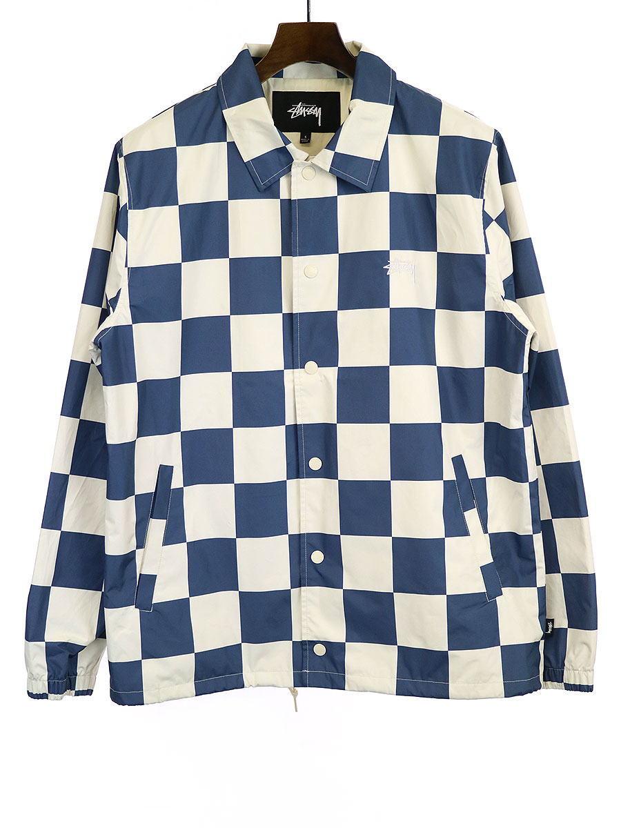 【中古】Stussy ステューシー Checker Coach Jacket チェッカーフラッグコーチジャケット ホワイト×ブルー S メンズ