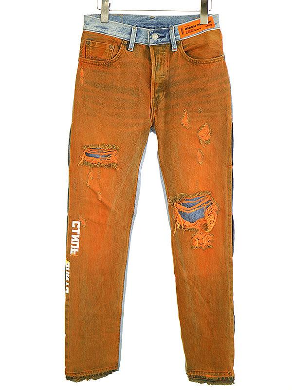 【中古】HERON PRESTON×LEVI'S ヘロンプレストン×リーバイス ペイント切替デニムパンツ ブルー×オレンジ 26 メンズ