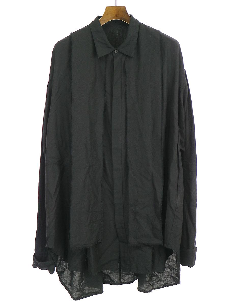 【中古】JULIUS ユリウス 17AW TUCK FORMAL SHIRT VER.1 オーバーシルエットシャツ ブラック 3 メンズ