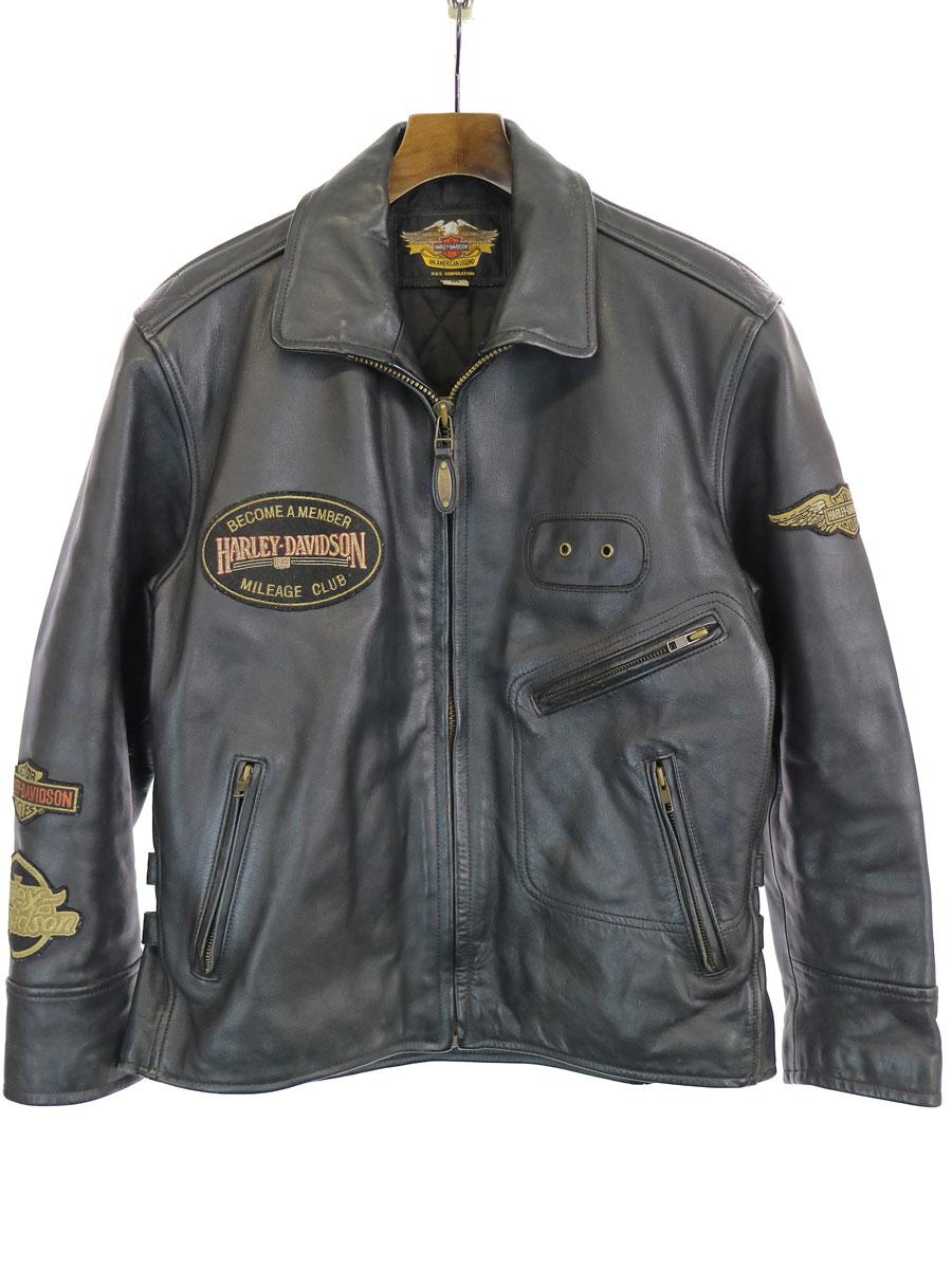 【中古】HARLEY DAVIDSON ハーレーダビッドソン 40133 ワッペン装飾シングルライダースジャケット ブラック M メンズ