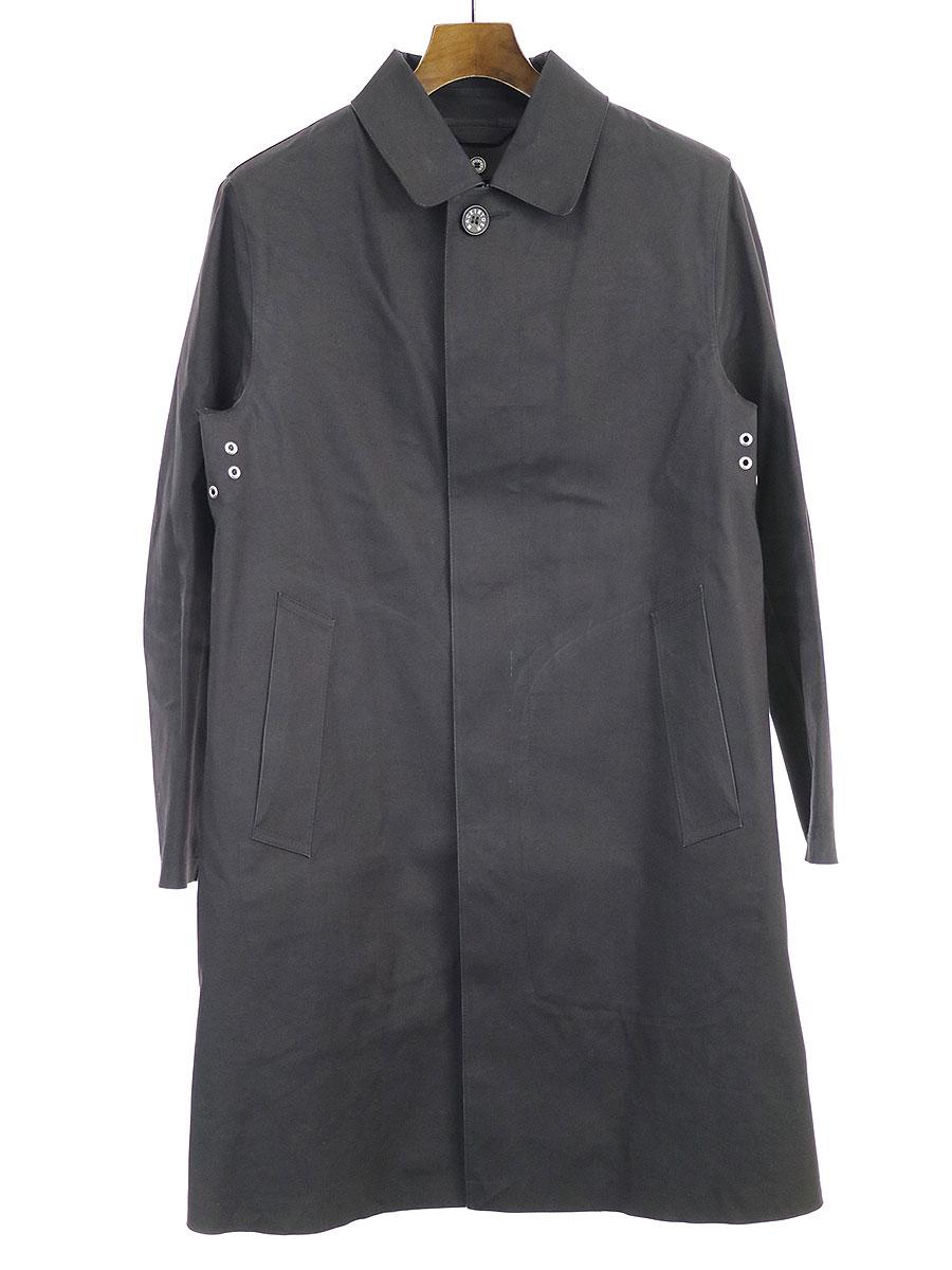 【中古】MACKINTOSH マッキントッシュ グレンチェックウールライナーゴム引きステンカラーコート ブラック 36 メンズ