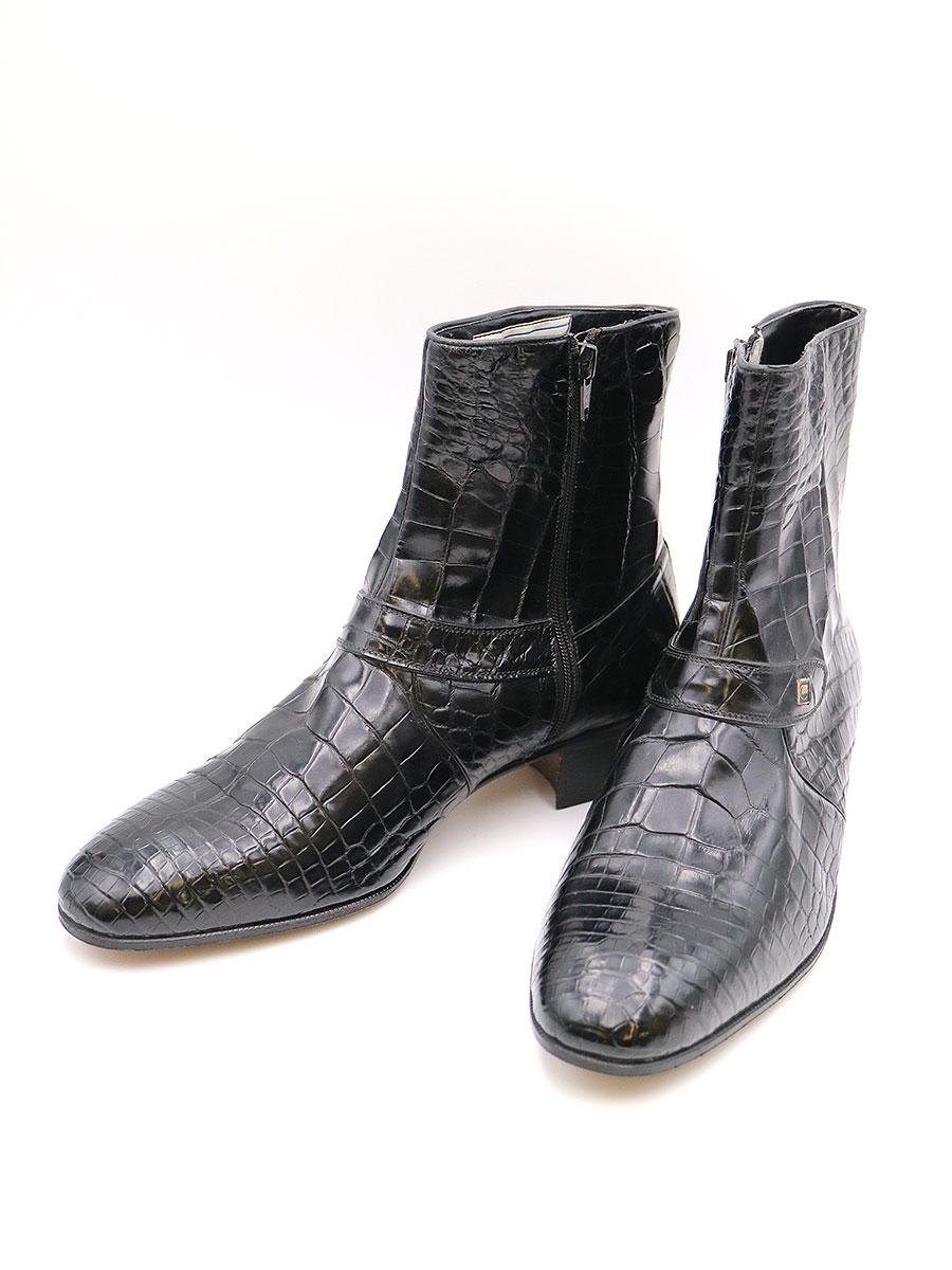 【中古】Mauri マウリ x celimene UOMO アリゲーターレザーサイドジップブーツ ブラック 8 1/2(27cm程度) メンズ