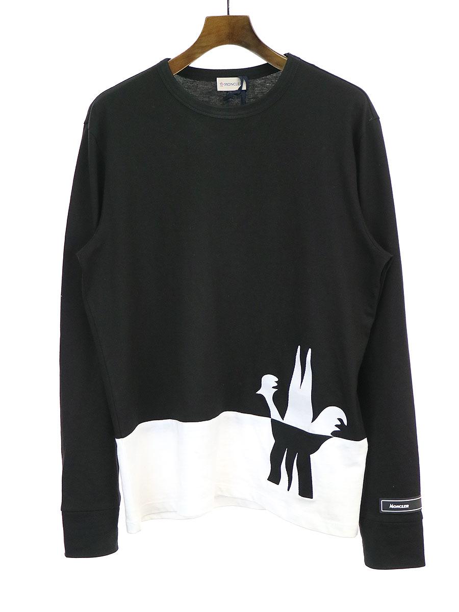 【中古】MONCLER モンクレール 20SS MAGLIA T-SHIRT ロングスリーブTシャツ ブラック L メンズ