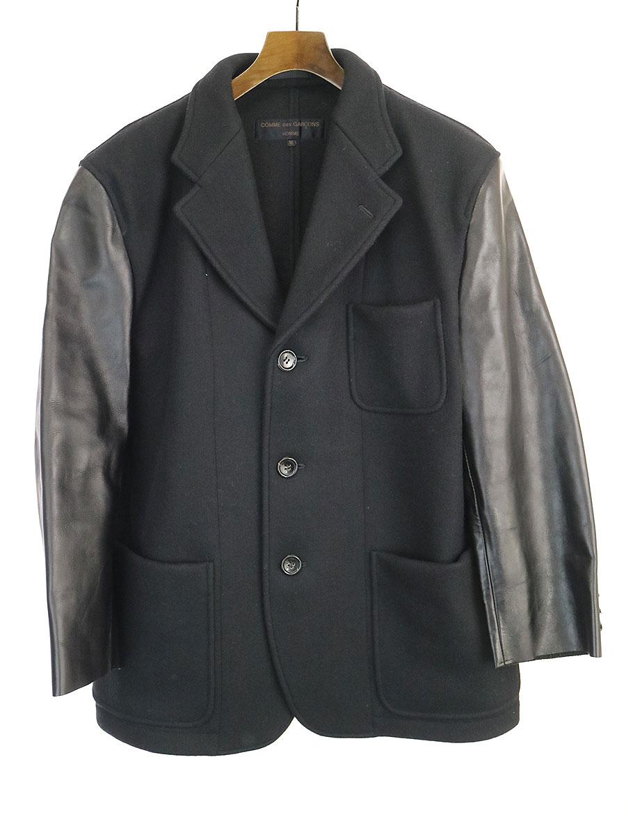 【中古】COMME des GARCONS HOMME コムデギャルソン オム AD1995 レザースリーブウールジャケット ブラック M メンズ