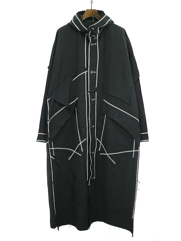 【中古】sulvam サルバム 18AW ステッチナイロンフードコート ブラック M メンズ